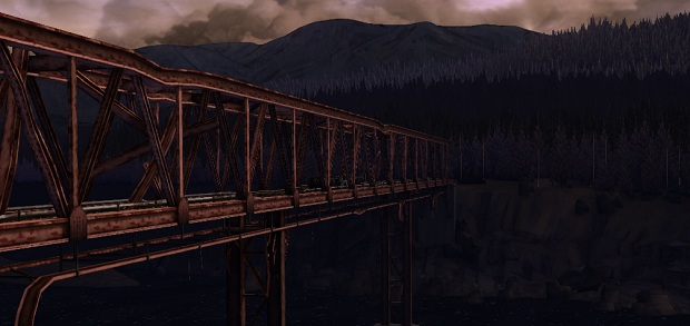 Surprised you! That's a bridge. I wanted to show that the whole game isn't just Clem looking at things, alth