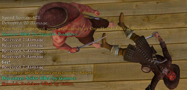 Felled by a half-naked buccaneer. At least his hat was fancy.