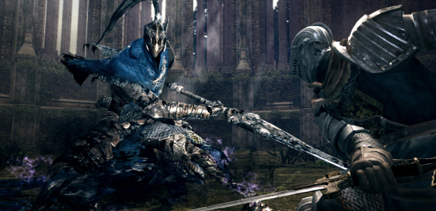 AN HILARIOUS SATIRICAL CARTOON: Artorias is labelled 'Steam' and the Chosen Undead he's hacking into is 'GFWL'