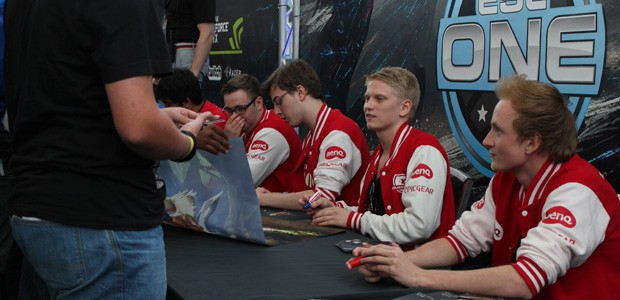 Mousesports (as was) signing table at ESL One