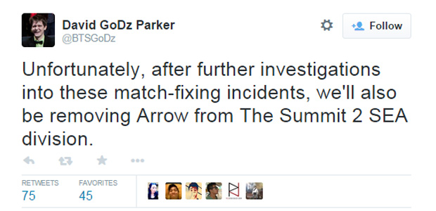 GoDz' tweet after the investigation concluded