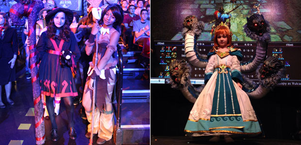 Cosplays from League of Legends and Smite - left to right you've got Lulu, Nidalee and Scylla