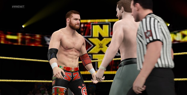 Sami Zayn, my personal heartthrob, is the man on the left. Facing him, The Professor, a wrestler wot I invented. He is a, nay THE, professor of pain.