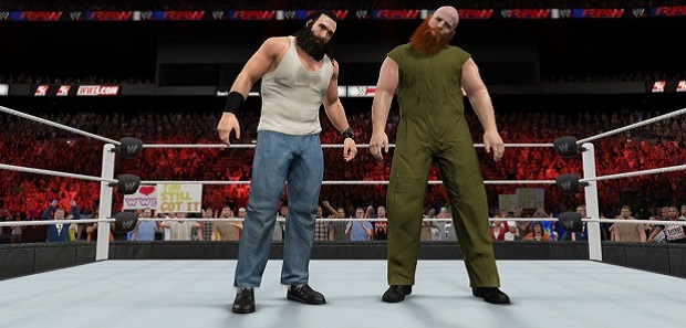 In these alt text captions I will provide insight into the various wrestlers pictured for non-wrestling fans. These fine fellows are members of the Wyatt Family. They are controlled by their sentient beards, which force them to fight everyone even though they are gentle men.