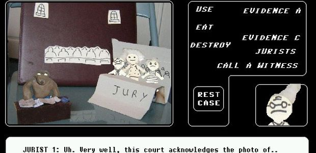 A plasticine and paper cutout scene from the trial in Murder Dog 4.