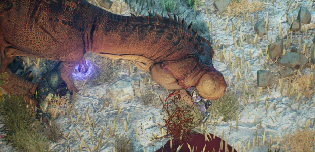 "Though you wouldn't necessarily expect realism from a game in which jetpacking clone soldiers do battle with a tag-team of robots and dinosaurs, Guardian's big-name lizards are mostly creatures that co-existed at the end of the Cretacious period, rather than a best-of selected from across the dinosaurs' 162-million-year stay on Earth. That said, the developers do find their imagination outstripping paleontological fact in the occasional creation of all new dinosaurs: one that resembles a rhino and another that can lasso the player with its tongue. But in some ways, the dinosaur mash-up is a longstanding paleontological tradition/hazard. Fake dinosaurs continue to plague the study, and though those fabricated wholesale are easy enough to identify with modern methods of analysis, it's still sometimes hard to spot those that have been restructured or amended to create ""new"" species to further line the pockets of unscrupulous fossil dealers."