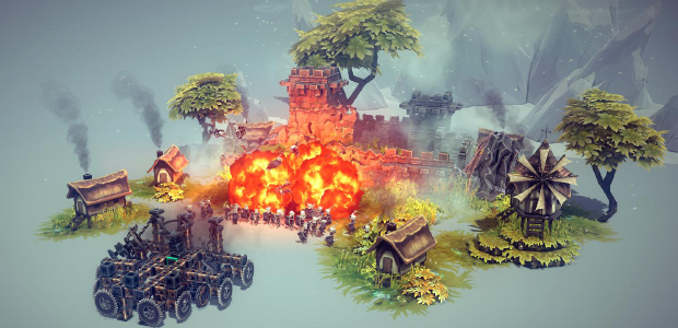 "Besiege's depiction of war is largely that of the middle ages, with a few fanciful additions - flight and the self-powering of your engine being the most obvious. Flamethrowers, though, actually date back quite a lot further: Thucydides attests to something of the sort being used by the Boeotians in the Battle of Delium in 424 BC. It consisted of a large cauldron of pitch suspended at a jaunty angle below a tube through which air was pumped using bellows. The tube curled back into the cauldron's mouth, farting air into the burning tar and causing huge jets of flame to shriek out, engulfing the wooden defences and anyone foolish enough to be standing on them. Apparently, combined with the erosive infusion of piss and vinegar, the flames would crack stone, too. (The phrase ""full of piss and vinegar"", however, seems unrelated, first appearing in John Steinbeck's In Dubious Battle some 2360 years later.)"