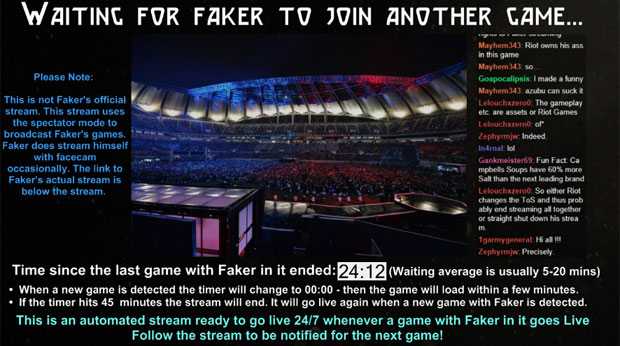 SpectateFaker holding page inbetween streams