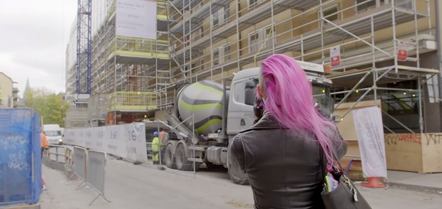 Karoliina Korppoo taking photographs of urban construction