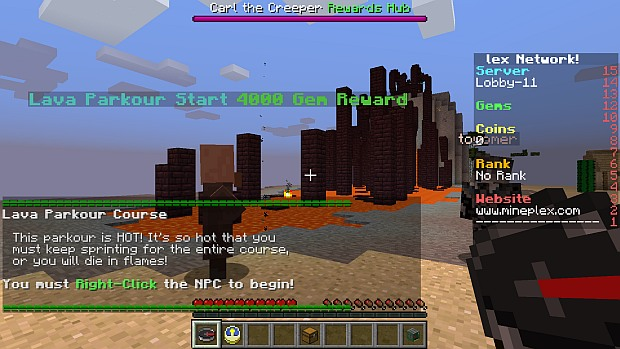 Mineplex's hub is large, and features side challenges like this parkour course.