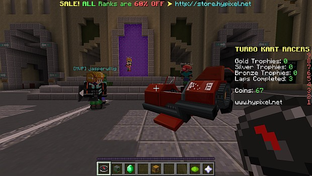 Custom helmets and karts are enabled by resource packs, which are automatically downloaded from the server as needed.