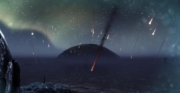 It's a pretty skybox, until you realize that the meteors can actually hit you.