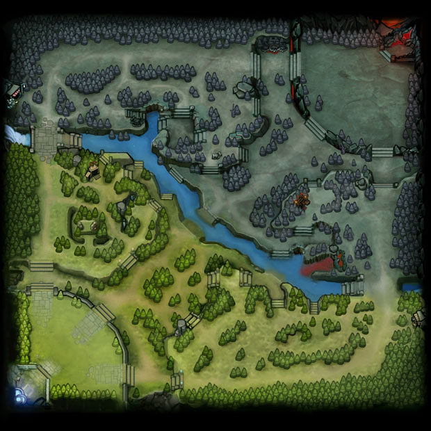 Dota 2 basic map showing terrain layout and pathways