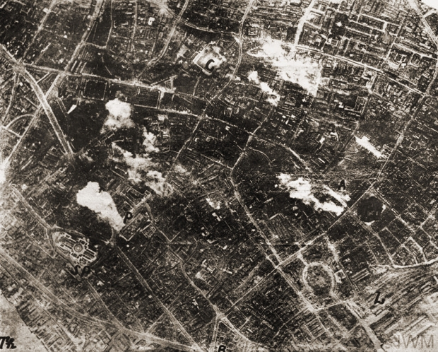 """An aerial photograph taken by a German airman during the second daylight raid on London, 7 July 1917. The St Paul's Cathedral is prominent on the left hand side of the picture."" © IWM (Q 108954)"