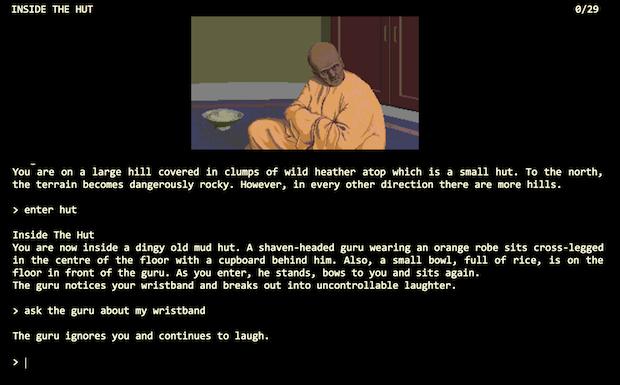 screenshot of the guru's hut in the Pawn
