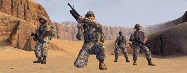 Men in a desert.