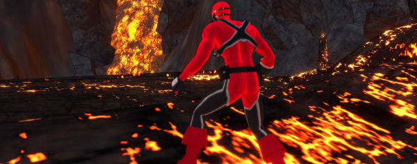 Warning: do not walk on lava while wearing lycra.